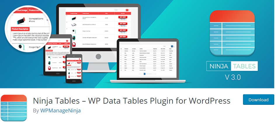 WordPress Tables plugin