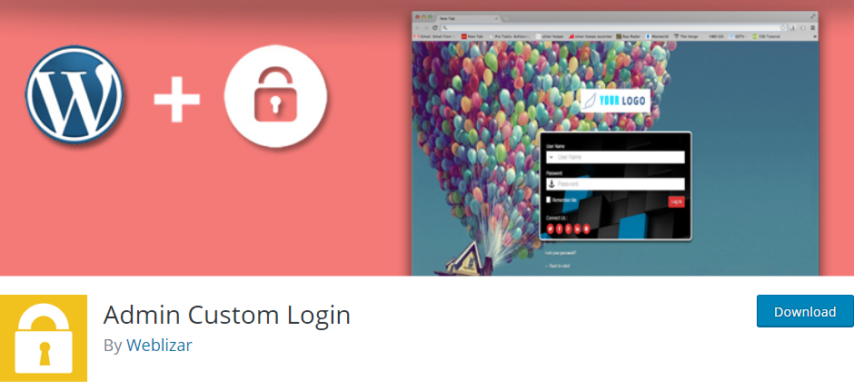 WordPress Login Page plugin
