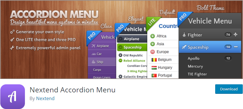 Nextend AccordWordPress Accordion pluginion Menu