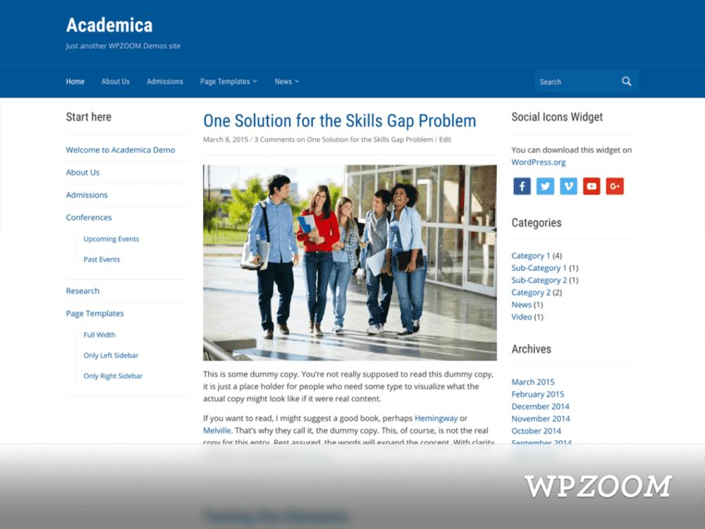 Free Academica Wordpress theme