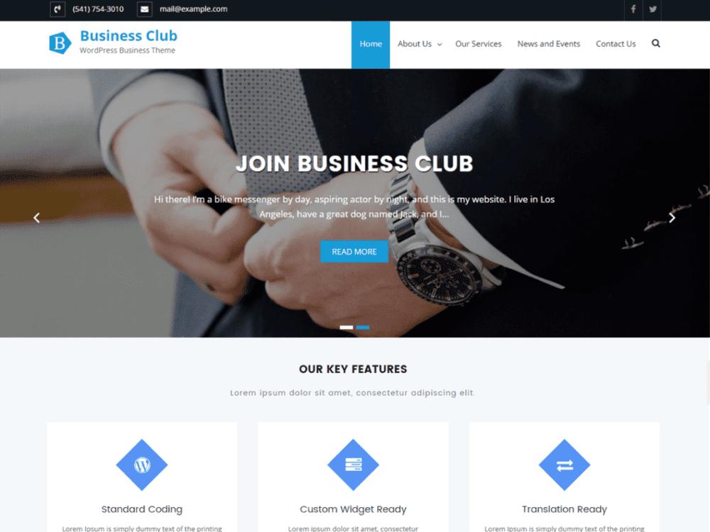 Free Business Club Wordpress Theme