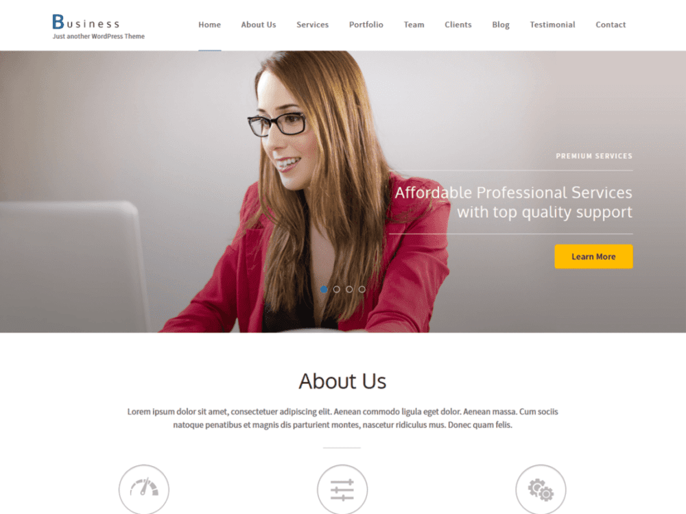 Free Business One Page Wordpress Theme