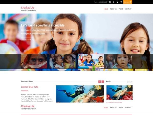 Free Charitas Lite WordPress theme