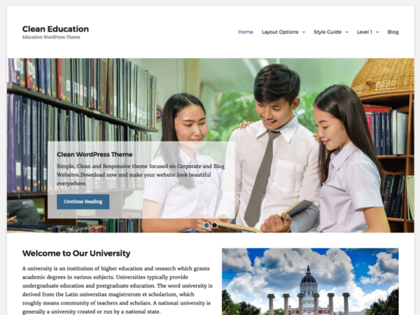 Free Clean Education WordPress theme