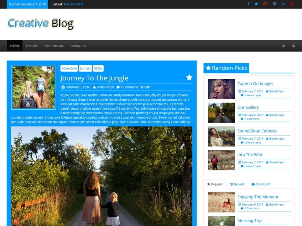 Free Creative Blog WordPress theme