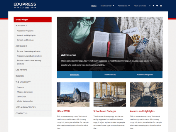 Free EduPress Wordpress theme