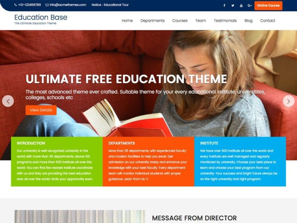 Free Education Zone Wordpress theme
