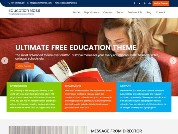 Free Education Zone Wordpress theme