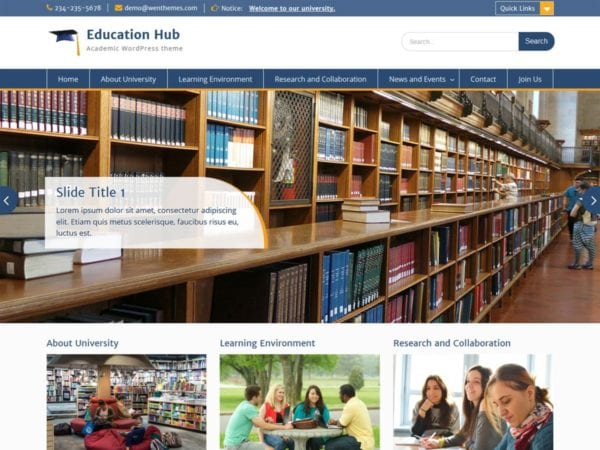 Free Education Hub WordPress theme
