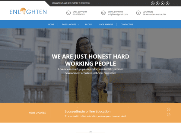 Free Enlighten WordPress theme