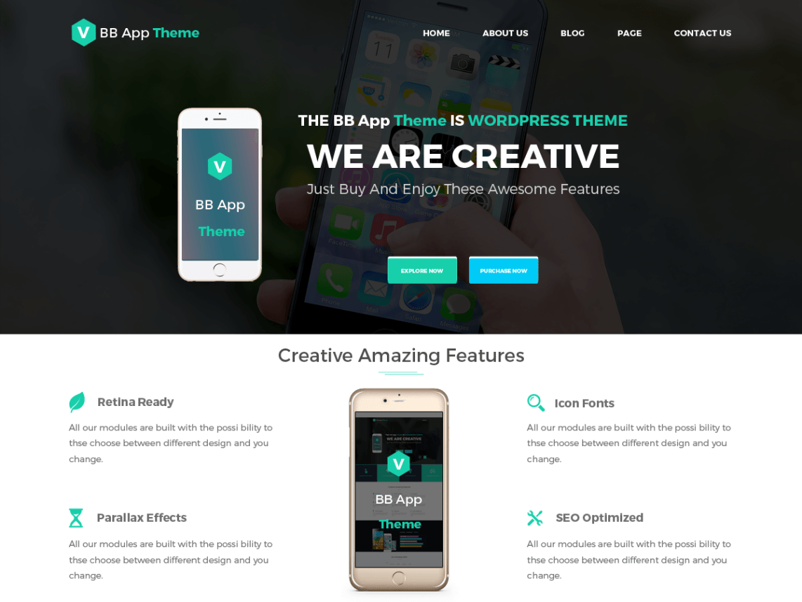 Download Free BB Mobile Application WordPress theme - JustFreeWPThemes