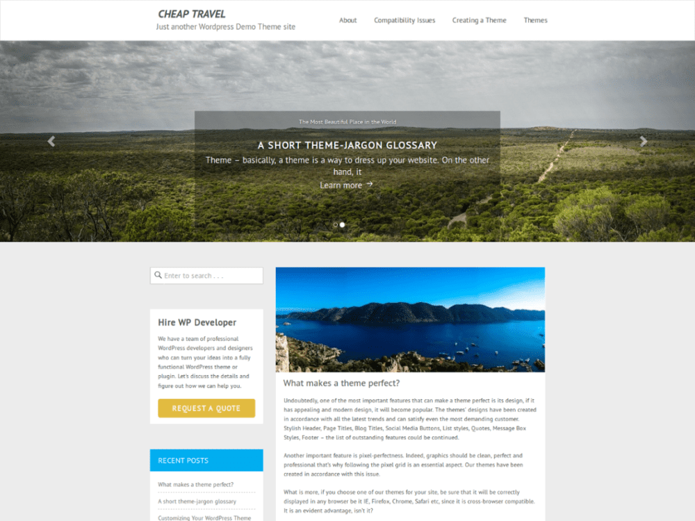 Free Cheap Travel Wordpress theme