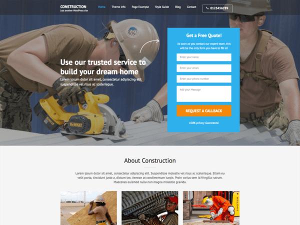 Free Construction Landing Page Wordpress theme