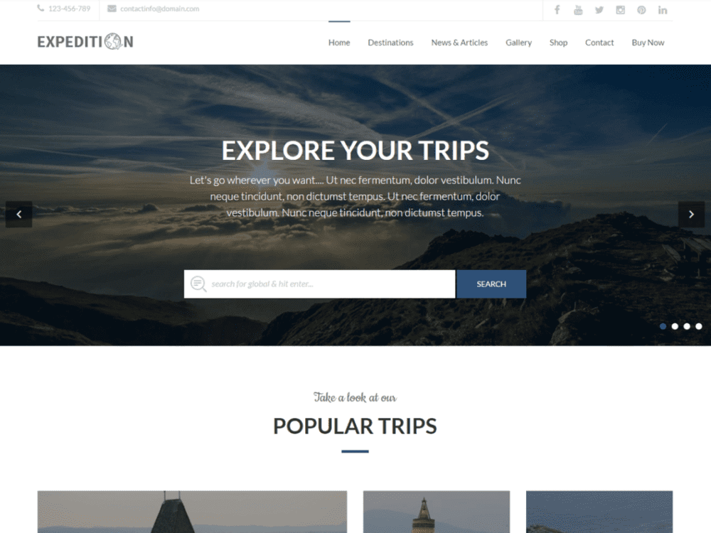 Free Expedition Wordpress theme