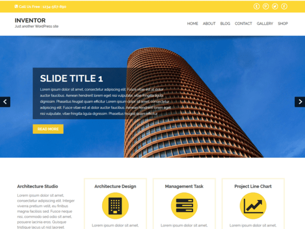 Free Inventor Wordpress theme