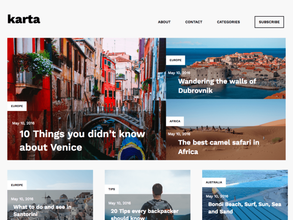 Free Karta Wordpress theme