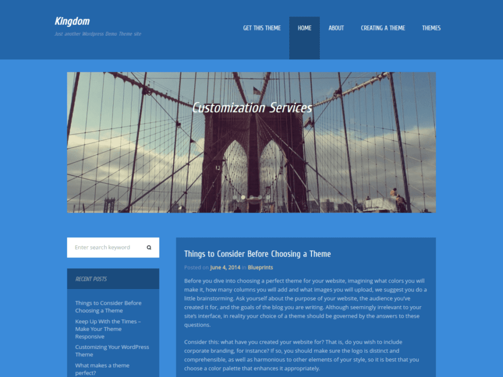 Free Kingdom Wordpress theme