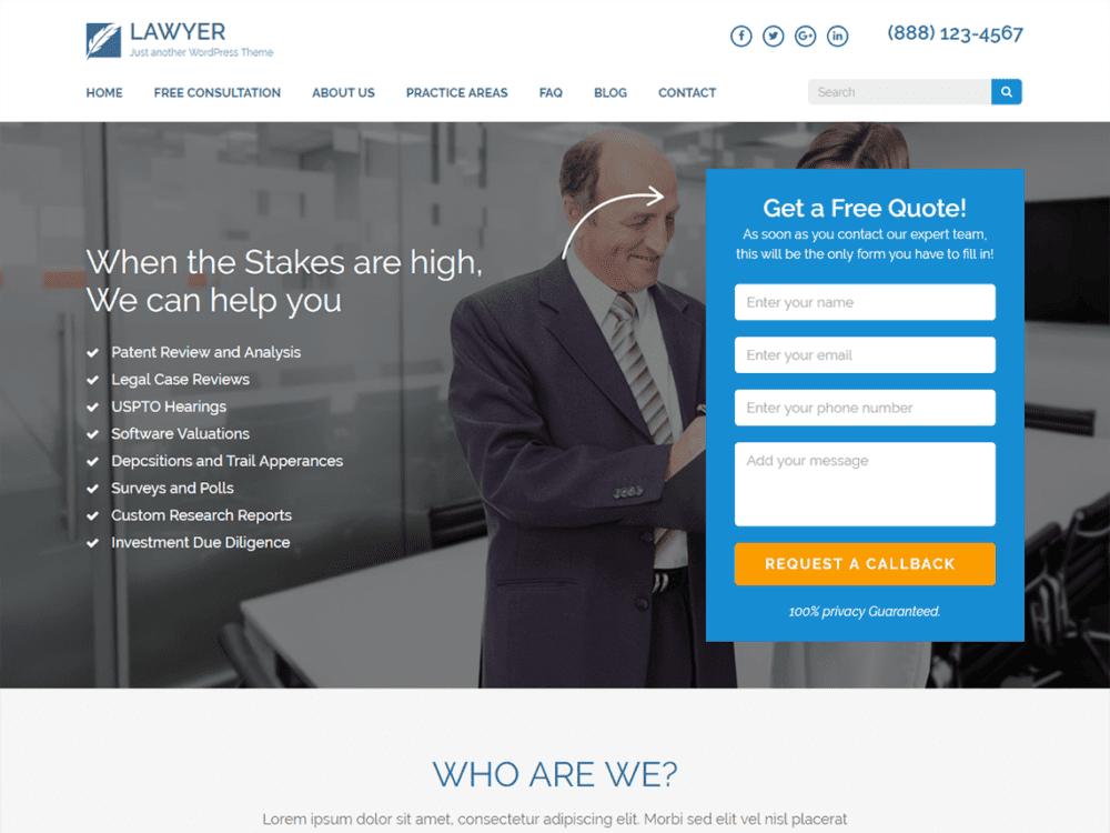 Download Free Lawyer Landing Page Wordpress theme