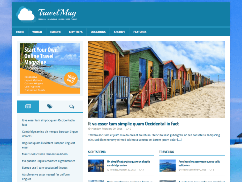 Free MH TravelMag Wordpress theme