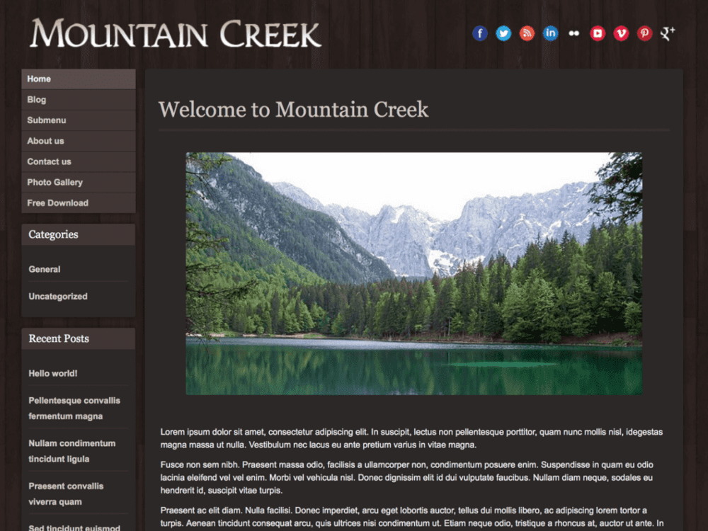 Free Mountain Creek Wordpress theme