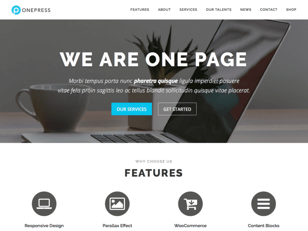 Free OnePress Wordpress theme