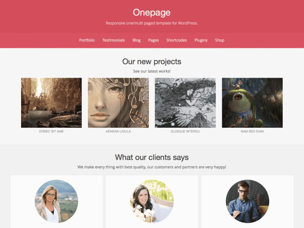 Free Onepage Wordpress theme