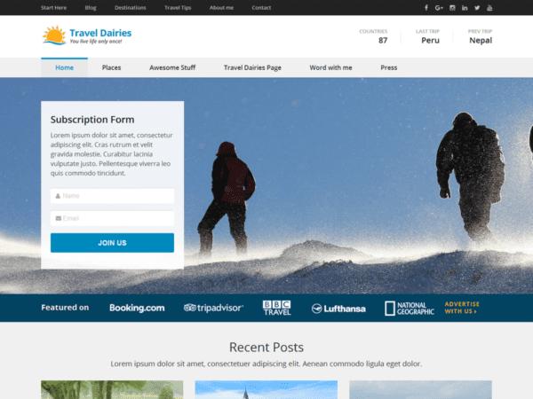 Free Travel Diaries Wordpress theme