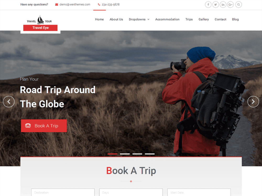 Free Travel Eye Wordpress theme