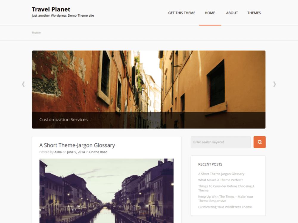 Free Travel Planet Wordpress theme