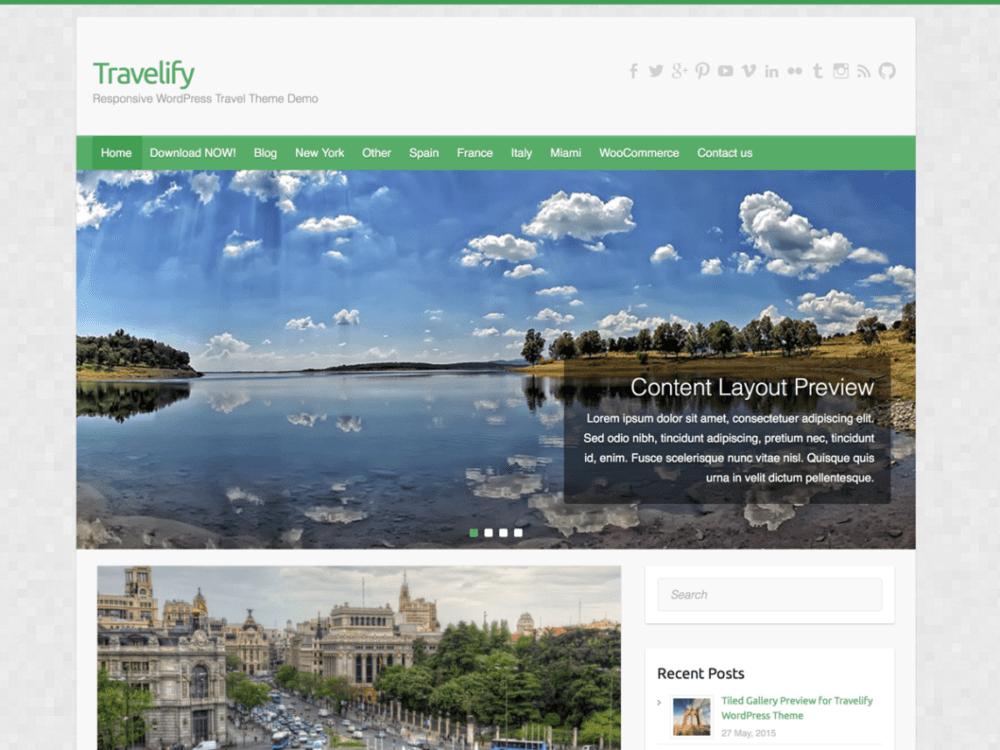 Free Travelify Wordpress theme