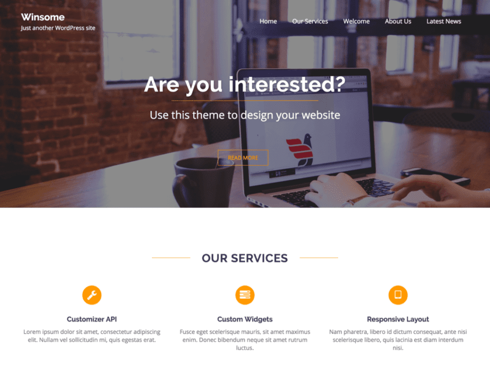 Free Winsome Wordpress theme