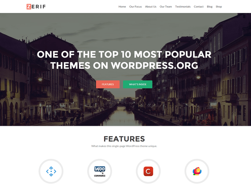 Free Zerif Lite Wordpress theme