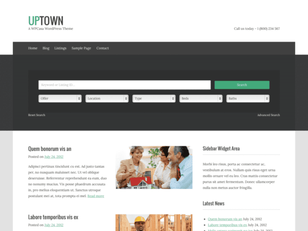 Free upTown Wordpress theme