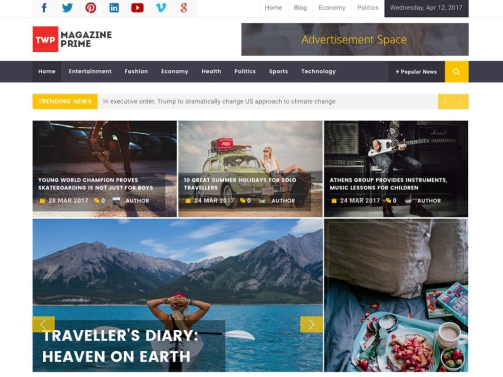 Download Free Magazine Prime Wordpress theme - JustFreeWPThemes