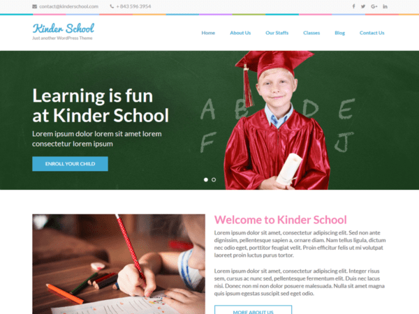 Free Preschool and Kindergarten WordPress theme