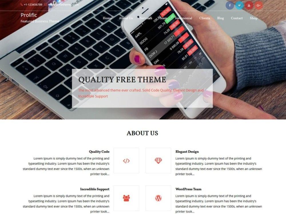 Free Prolific WordPress theme