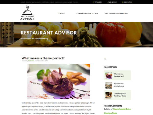 Free Restaurant Advisor Wordpress theme