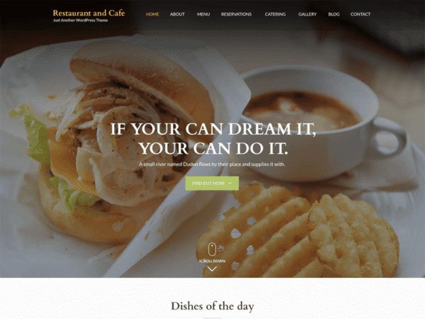 Free Restaurant and Cafe Wordpress theme