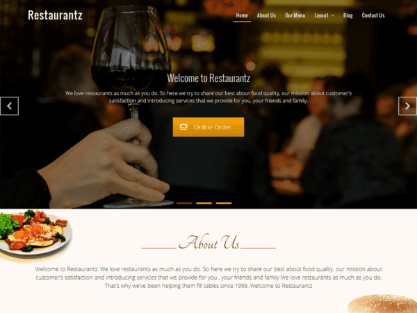 Free Restaurantz Wordpress theme