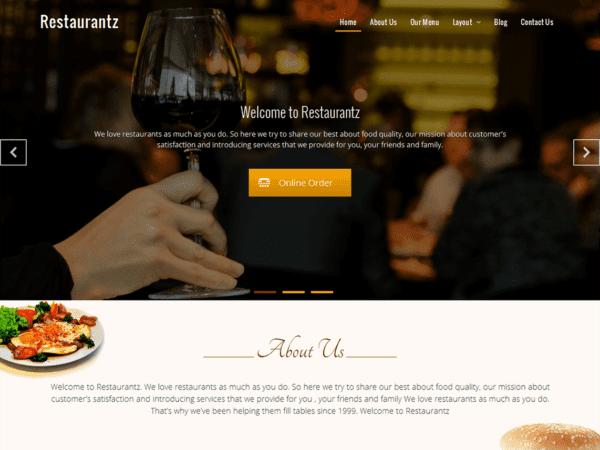Free Restaurantz Wordpress theme