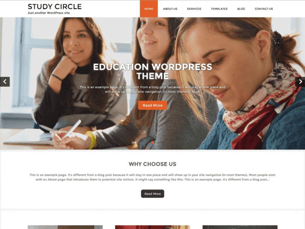 Free Study Circle WordPress theme
