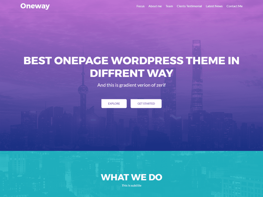 Free Oneway WordPress theme