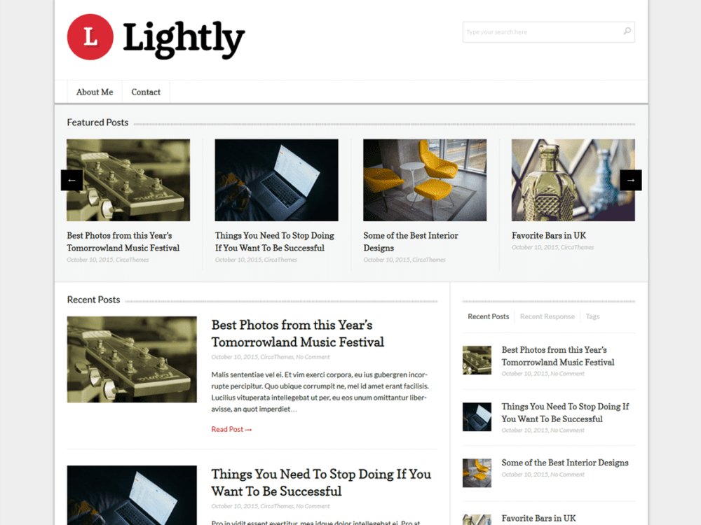 Free Lightly Wordpress Theme