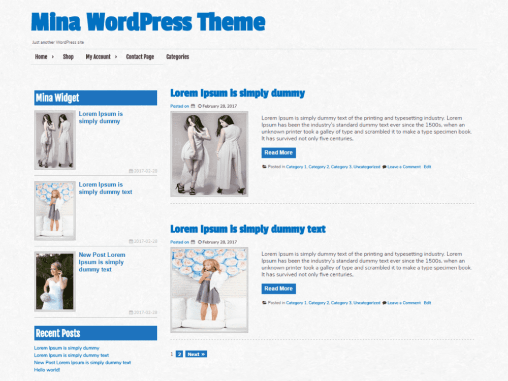 Free Mina Wordpress Theme
