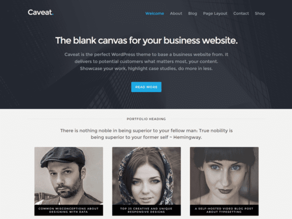 Free Caveat WordPress theme