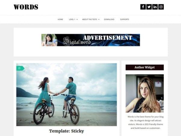 Free Words Wordpress Theme
