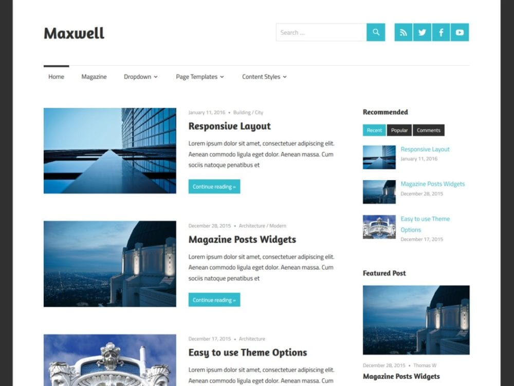 Free Maxwell Wordpress Theme