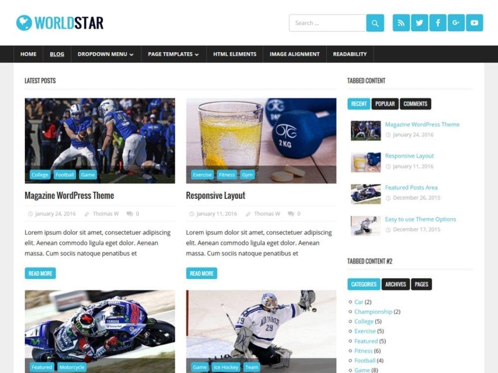 Free WorldStar Wordpress Theme