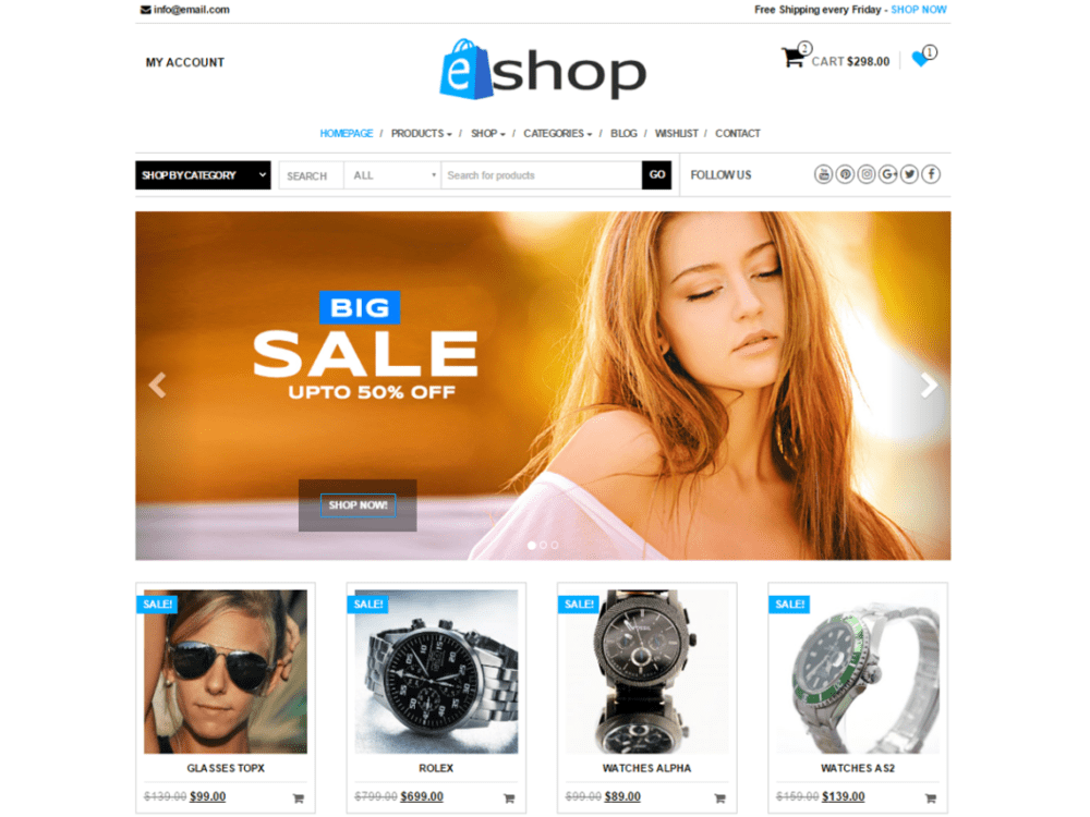 Download Free E-Shop Wordpress theme - JustFreeWPThemes