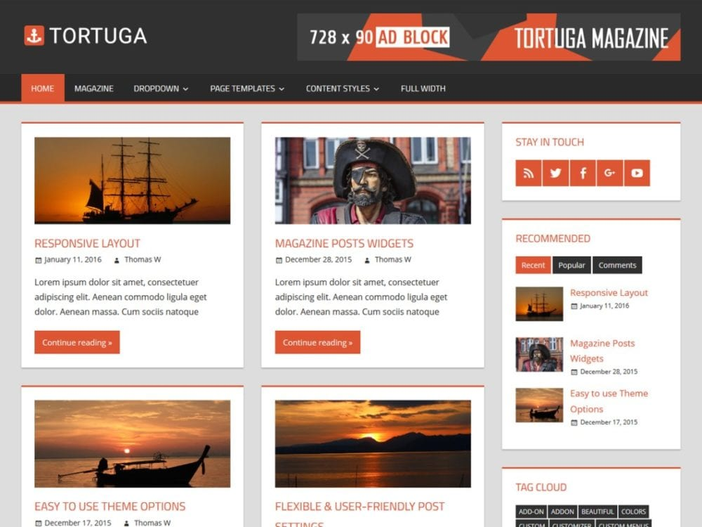 Free Tortuga Wordpress Theme
